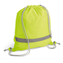 Reflective Drawstring Bag in yellow with reflective stripe and grey strings