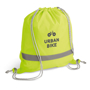 Reflective Drawstring Bag in yellow with reflective stripe and grey strings with 1 colour logo