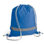 Reflective Drawstring Bag in blue with reflective stripe and grey strings
