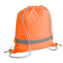 Reflective Drawstring Bag in orange with reflective stripe and grey strings