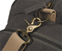 Venture Duffel Bag in charcoal with cream straps showing metal clasp details
