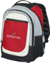 Tumba Backpack in red with black, grey and white details with 2 colour logo