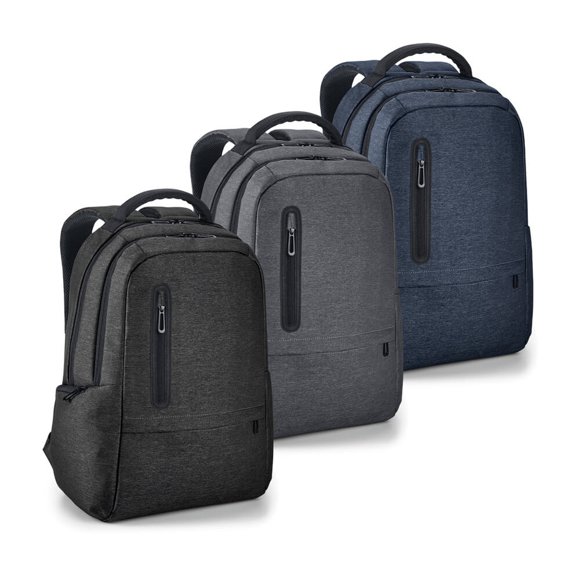 Boston Laptop Backpack in black, grey and navy