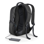 Boston Laptop Backpack in black showing USB port