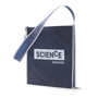 Shoulder shopping bag in blue with white trim and 1 colour logo