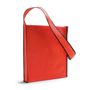 Shoulder shopping bag in red with black trim