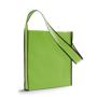 Shoulder shopping bag in green with black trim