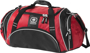 Crunch Duffel Bag in red and black with white details front on view