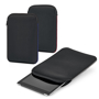 Tablet pouches in black with different coloured stitching