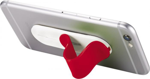 Compress Phone Stand in red being used as stand