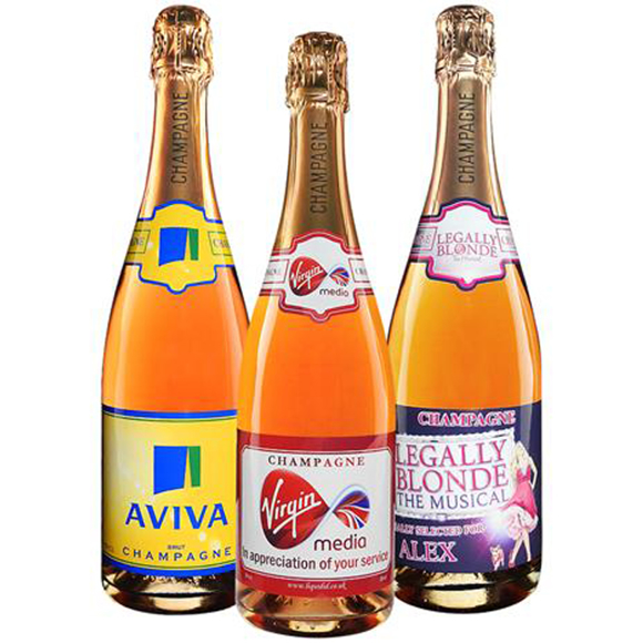 Auntreau NV Rosé Champagne with full colour print branded labels