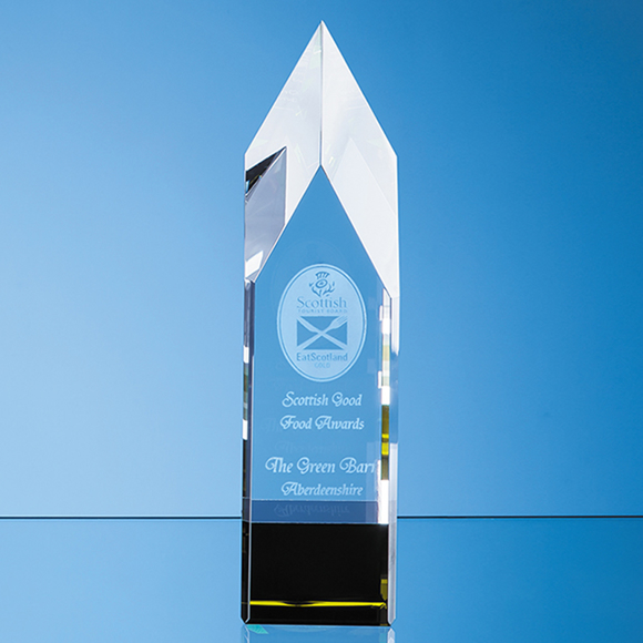 Clear & Emerald Green Pointed Monolith Award