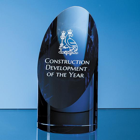 Clear & Sapphire Blue Optical Crystal Cylinder Award