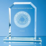 Jade Glass Bevelled Edge Honour Award with engraving