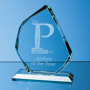Jade Glass Facetted Ice Peak Award with engraving
