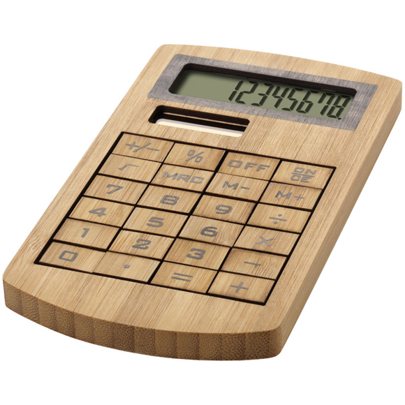 Bamboo Calculator with solar panel