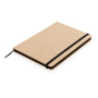 Eco Friendly A5 Kraft Notebook in brown with black elastic closure strap, ribbon and page edges