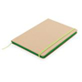 Eco Friendly A5 Kraft Notebook in brown with green elastic closure strap, ribbon and page edges
