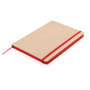 Eco Friendly A5 Kraft Notebook in brown with red elastic closure strap, ribbon and page edges
