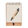 Recycled multibook Memo Pad in brown with wire binding, 40 pages of lined paper and carton barrel ball pen and blue ink