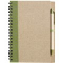 Recycled Notepad and Pen with khaki trim and colour match pen