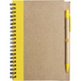 Recycled Notepad and Pen with yellow trim and colour match pen