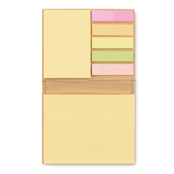 Recyclo Memo Book with 5 coloured sticky tabs and 2 different sized sticky memo pads