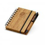 Bamboo note pad with black wire bound, elastic closure strap and bamboo/black pen with laser print logo