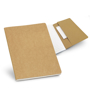 Recycled Notepad in brown showing lined pages and pocket at back of notepad