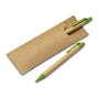 Paper Barrel Pen Set in brown pouch and brown and green pen shown