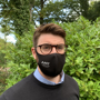 1 Layer Comfortable Face Mask in black with 1 colour logo being worn