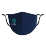 Full Colour Antimicrobial Cotton Face Mask in navy with 2 colour print logo