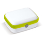 Lunch Box in white with green trim