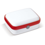 Lunch Box in white with red trim
