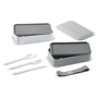 Multiple Compartment Cutlery Set Bento Lunch Box  showing contents in grey and white