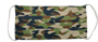 Pleated Face Mask in camo print with white elastic straps