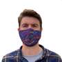 Premier 3ply Face Mask in bluw with full colour print being worn front view