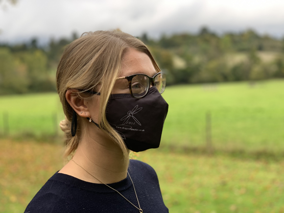 Premier 3ply Face Mask in black with 1 colour print logo being worn side view