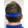 Face Mask Comfort Strap in blue showing it round the back of his head