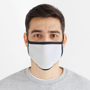 Reusable Dye Sublimation Face Cover in white with black trim being worn