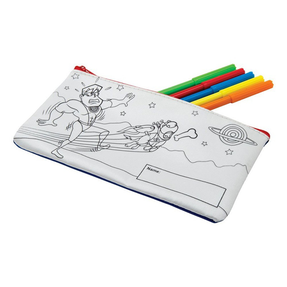 Colour In Pencil Case with 5 coloured pens
