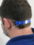 Face Mask Comfort Strap in blue showing it round the side of his head