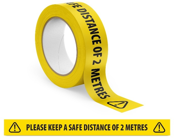 Floor Marker Tape in yellow with black print
