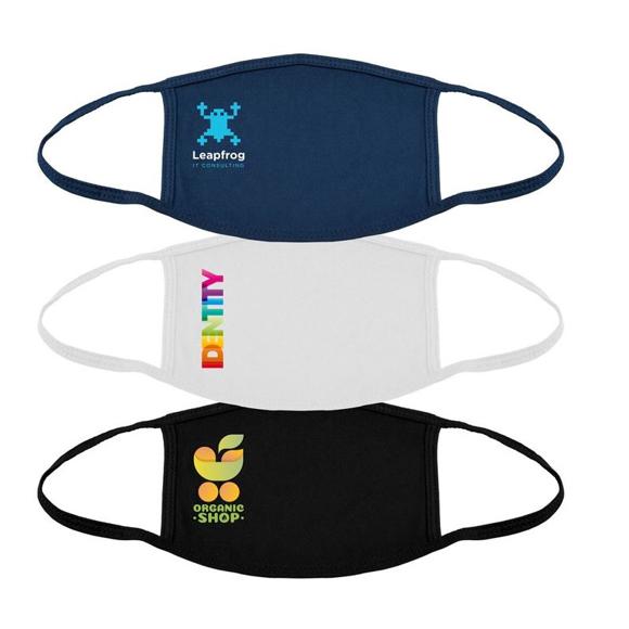 Full Colour Cotton Mask showing the 3 colour options