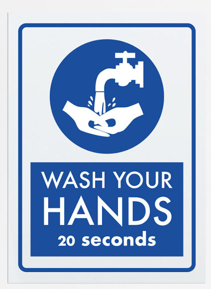 vinyl sign reminding you to wash your hands
