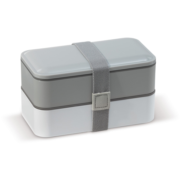 Bento Lunch Boxes in white and grey with grey elastic strap holding 2 boxes together