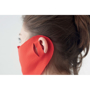 Coverface face mask in red worn around ear