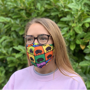 Premier 3ply Face Mask in full colour print being worn