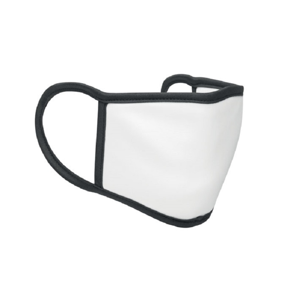 Reusable Dye Sublimation Face Cover in white with black trim