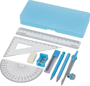 Julia Geometry Set in blue  with case and contents laid out